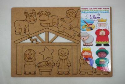 Bastelset für Kinder Weihnachten aus Holz Magnete,Kinderkrippe,Malen,Basteln