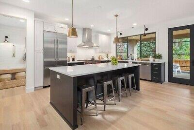 *7ft Espresso Dark brown kitchen island with white Carrara quartz top US Made*