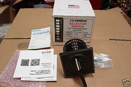 OMEGA SW143G-6-B-PG THERMOCOUPLE SELECTOR SWITCH 3 POLE 6 POSITION NEW