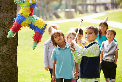 There are two types of piñata you can buy: A classic piñata that you hit with a stick or a pull piñata with ribbons.