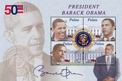 Palau 2011 - Pres. Barack Obama 50th Birthday Sheet of 4 stamps MNH