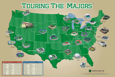 Baseball Stadiums Map Of Usa Touring The Majors All 30 Ballparks Poster 24X36