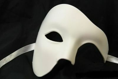 PHANTOM OF THE OPERA MENS MASQUERADE MARDI GRAS COSTUME HALF MASK BLANK WHITE - Masquerade Mens Costume