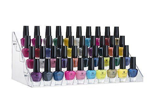 60 Bottles Acrylic Nail Polish Display Stand and Organizer, 5 Steps, Holds Up