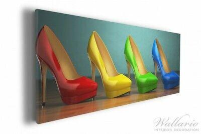 Wallario Leinwandbild 30 x 75 cm Bunte Schuhe - High Heels für Frauen rot