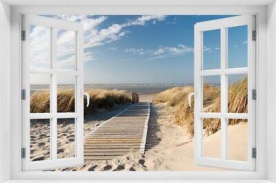 Wallario Maxi-Poster 61 x 91,5 cm mit Fensterrahmen - Auf Holzweg Strand Strand