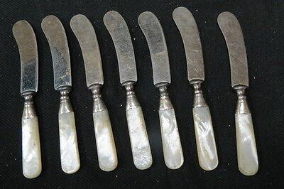7 vintage butter knifes / spreaders / curved blade MOP handle sterling band