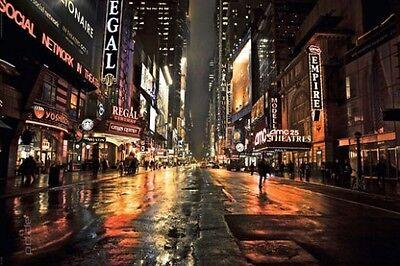 Poster USA: New York Manhattan bei Nacht 42nd Street Nachtlichter 91,5 x 61 cm