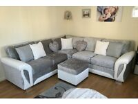 FREE POUFFE with SCS corner sofa in crushed velvet