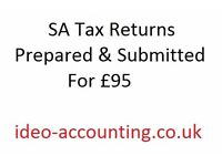 SA Tax Returns Prepared and Submitted for £95 Fast Turnaround and Friendly Service