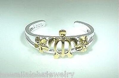6.5mm Hawaiian Silver 2-Tone 14k Yellow Gold Petrolyph Turtle Plumeria Toe Ring