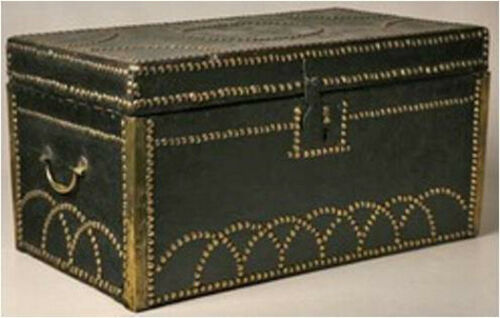 Tack Decorated Leather Bound Trunk Made in Cuyahoga Falls, Ohio