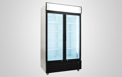 2 Glass Door Refrigerator Commercial Reach In Merchandiser Cooler Display Store