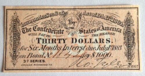 A Civil War, $30.00 Interest receipt, from a 1864 Confederate $1000 Bond *Super*