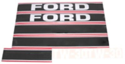 Ford Tw30 Tractor Hood Decal Set Black And Red