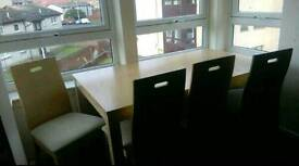 Large dining table & 4 chairs
