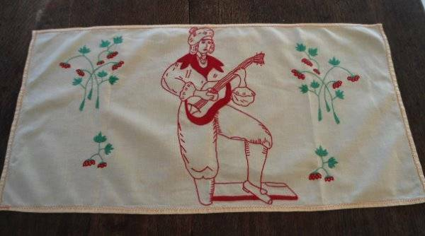 Vintage Yellow Red Embroidered Table Runner  Scarf Italian Musician Strawberry