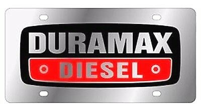 Duramax Chrome & Black Mirror License Plate Auto Tag Chevy/GMC Turbo Diesel