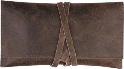 Drehertasche Velour braun 16 cm mit Lederband und Zigarettenpapierfach NEU