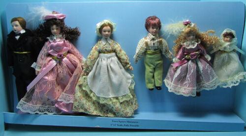 Dollhouse Miniature Porcelain Victorian Extended Family 6 Dolls G7651
