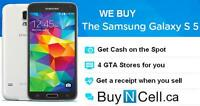WANT TO BUY SAMSUNG GALAXY S5 NEW OR USED - 5 STORES TO SELL TO