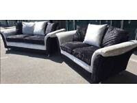SALE!!! NEW Designer Zulu 3 + 2 Seater Sofa Set Suite Crushed Velvet DELIVERY AVAILABLE