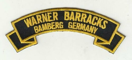 "Warner Barracks Bamberg Germany 4"" embroidered scroll tab patch"