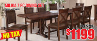 Milika 7pc Solid Wood Dining Set, Now $1199 Tax Included!
