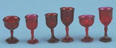 Dollhouse Miniature Six Piece Stemware in Red by Chrysnbon