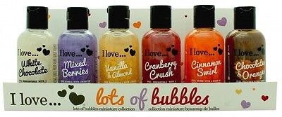 I LOVE... GIFT SET 6 X 100ML BUBBLE BATH - WOMEN'S FOR HER. NEW. FREE SHIPPING