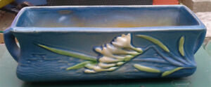 Genuine Roseville Pottery window sill planter, blue Iris pattern