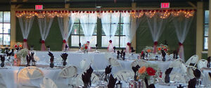 White Sheer Swag Panels with lights for Your Wedding