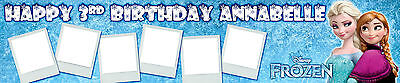 FROZEN ANNA/ELSA  PERSONALISED AND UP TO SIX PHOTOS  BIRTHDAY BANNER
