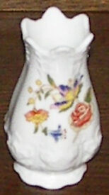AYNSLEY Fine Bone China, Regency Vase. Cottage Garden, size, 90mm (9cm) high x 50mm (5cm) diam
