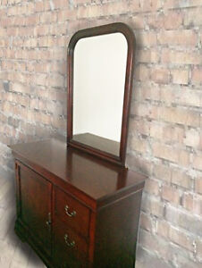 CHERRYWOOD DRESSER,MIRROR AND NIGHTSTAND