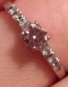 Ladies Genuine Pink and white Diamond solitaire white gold ring