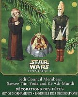 2000 STAR WARS Hallmark Jedi Council Members - 3 Mini Ornaments