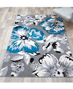 Beautiful Floor Area Rug Floral Blue Gray NEW