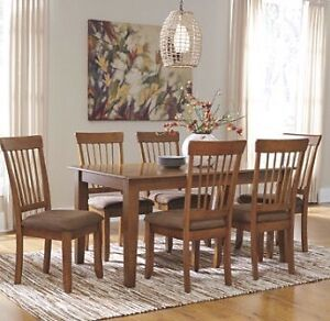 Brand New thick honey table and 6 solid chairs only $950