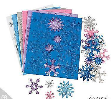 72 Glitter Snowflake Foam Sticker Snow Flake Pink Blue White Purple Silver](Foam Snowflakes)