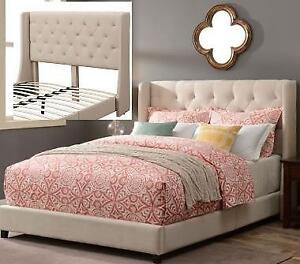 Sedona Contemporary Upholstered Platform Bed - Queen - Snow