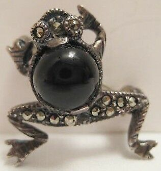 """Beautiful Old Sterling Silver Tree Frog Pin 3/4"""" w Jet Black Caboshom Marcosites"""