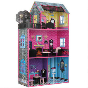 (BNIB)Teamson Haunted Monster Dollhouse with Furniture