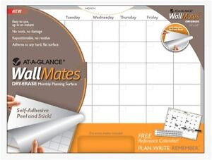 At a Glance Wall Mate Dry Erase Monthly Planning Surface-New! +