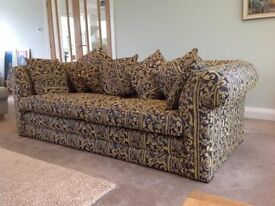 Sofa - beautiful luxurious and very comfortable in excellent condition. In very rich blues and gold.
