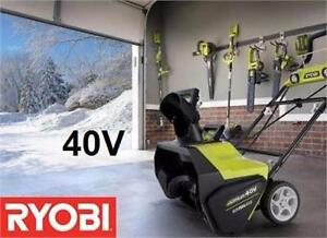NEW RYOBI 40V BRUSHLESS ELECTRIC SNOW BLOWER WITH 40V LITHIUM BATTERY AND CHARGER  WEATHER WINTER SNOW ICE  83898346