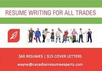 Professional Resume Writing for Tradespeople – only $60