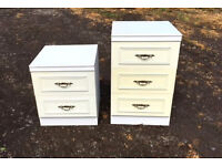2 white bedside chests drawers
