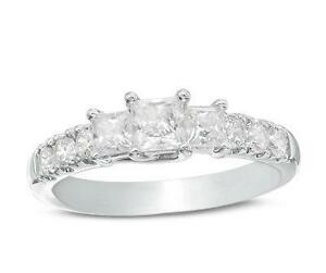 Canadian 1.20 CT. T.W. Princess-Cut Diamond Ring in 14K White Gold