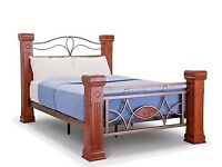 QUALITY,SOLID, DARK WOODEN, OMEGA BED BED, DOUBLE, 4.6, BEDSIDE TABLE AVAIL, MEMORY FOAM MATTRESS,